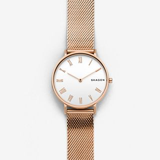 Hald Rose-Tone Silk-Mesh Watch