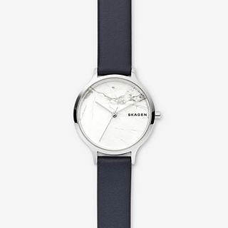 Anita Blue Leather Stone Watch