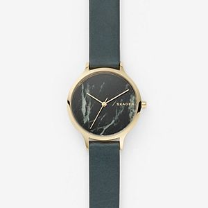 Anita Green Leather Stone Watch