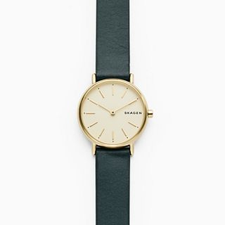 Signatur Slim Green Leather Watch