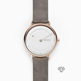 Horisont Special-Edition Genuine Diamond Gray Leather Watch
