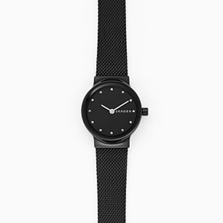 Freja Black Steel-Mesh Watch