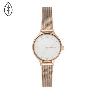 Anita Two-Tone Steel Ripple-Mesh Watch