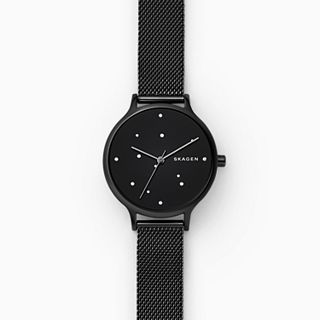 Anita Black Steel-Mesh Constellation Watch