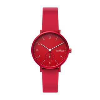 Aaren Kulør Red Silicone 36mm Watch