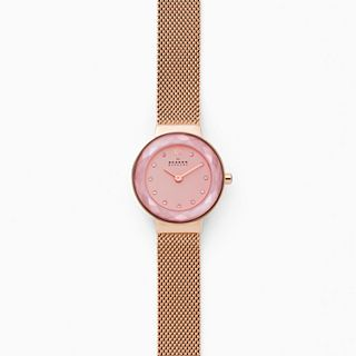 Lenora Rose-Tone Steel-Mesh Watch