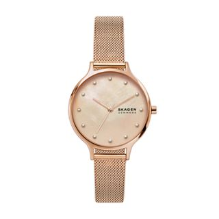 Anita Mother-of-Pearl Rose-Tone Steel-Mesh Watch