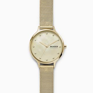Anita Mother-of-Pearl Gold-Tone Steel-Mesh Watch