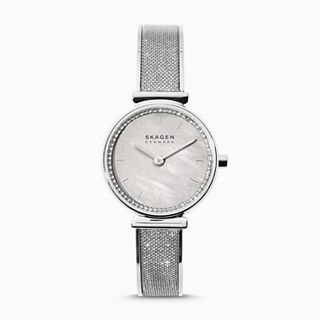 Annelie Silver-Tone Glitz Mesh Bangle Watch