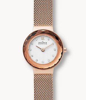 Leonora Rose Gold-Tone Steel-Mesh Watch