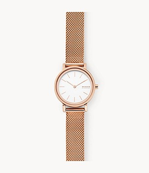 Hald Two-Hand Rose-Tone Steel-Mesh Watch