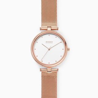 Tanja Three-Hand Rose-Tone Steel-Mesh Watch