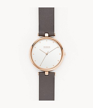 Tanja Three-Hand Gray Leather Watch