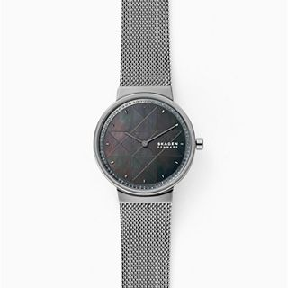 Annelie Two-Hand Grey Steel-Mesh Watch