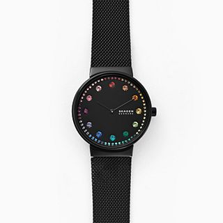 Annelie Two-Hand Black Steel-Mesh Watch