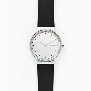 Annelie Two-Hand Black Leather Watch