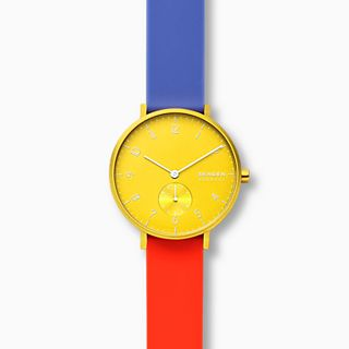 Aaren Kulor Color Blocked 36mm Watch, Yellow Dial