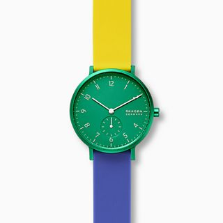 Aaren Kulor Color Blocked 36mm Watch, Green Dial