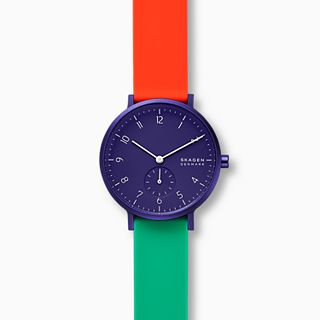 Aaren Kulor Color Blocked 36mm Watch, Blue Dial