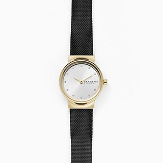 Freja Two-Hand Black Steel-Mesh Watch