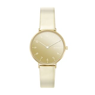 Aaren Metallic Two-Hand Gold Leather 36mm Watch