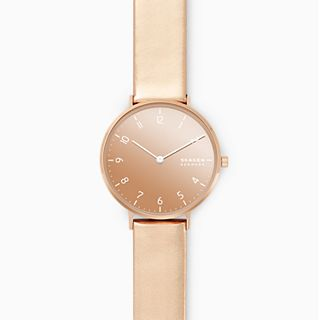 Aaren Metallic Two-Hand Rose Leather 36mm Watch