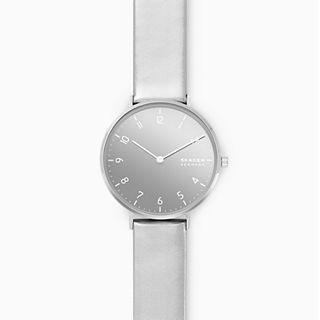 Aaren Metallic Two-Hand Silver Leather 36mm Watch