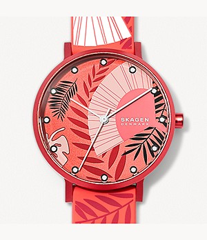 Aaren Three-Hand Floral Print Coral Silicone 36mm Watch