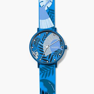 Aaren Three-Hand Floral Print Blue Silicone 36mm Watch