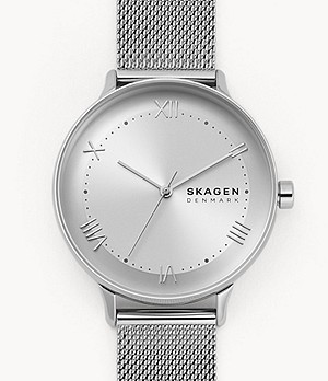 Nillson Three-Hand Silver-Tone Steel Mesh Watch