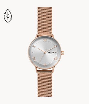 Nillson Three-Hand Rose-Tone Steel-Mesh Watch