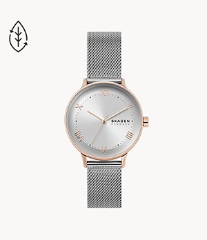 Nillson Three-Hand Silver-Tone Steel-Mesh Watch