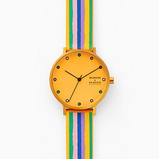 Helmstedt x Skagen Aaren Three-Hand Multicolored Striped Silicone 36mm Watch