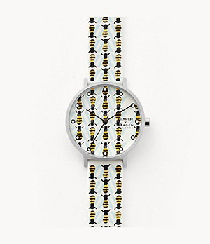 Helmstedt x Skagen Aaren Three-Hand Bee Print White Silicone 36mm Watch