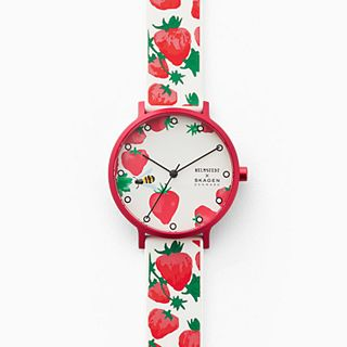 Helmstedt x Skagen Aaren Three-Hand Strawberry Print White Silicone 36mm Watch