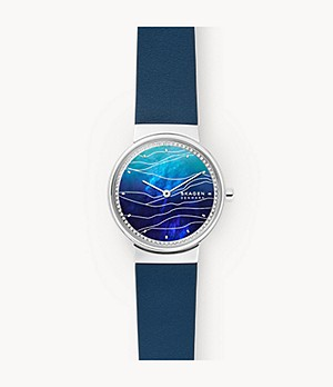 Annelie Two-Hand Blue Leather Watch
