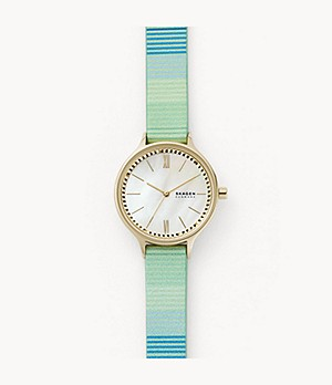 Anita Three-Hand Green Leather Watch