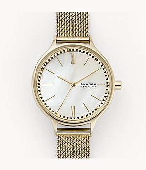 Anita Three-Hand Gold-Tone Steel-Mesh Watch