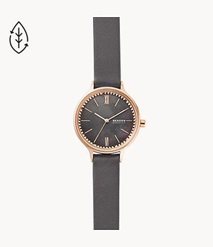 Anita Three-Hand Grey Leather Watch