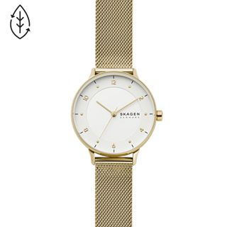 Riis Three-Hand Gold-Tone Steel-Mesh Watch