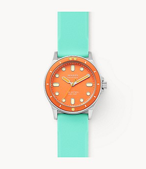 Fisk Three-Hand Green Silicone Watch