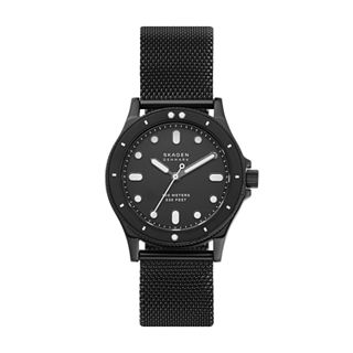 Fisk Three-Hand Black Steel-Mesh Watch
