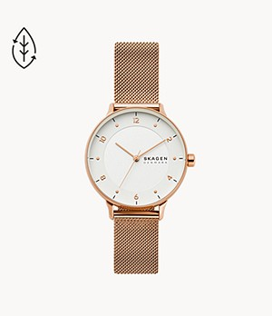 Riis Three-Hand Rose-Tone Steel-Mesh Watch