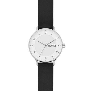 Riis Three-Hand Black Leather Watch