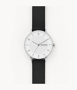 Riis Three-Hand Black Leather Watch