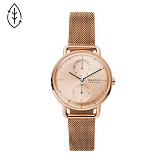 Horizont Multifunction Rose Gold-Tone Steel-Mesh Watch