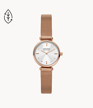 Amberline Two-Hand Rose-Tone Steel Mesh Watch