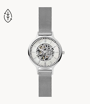 Anita Automatic Silver-Tone Steel-Mesh Watch