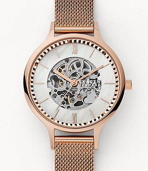Anita Automatic Rose-Tone Steel-Mesh Watch