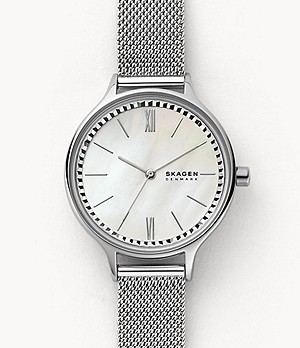 Anita Three-Hand Silver-Tone Steel-Mesh Watch